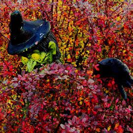 Witch in a bush by Liz Hahn - Public Holidays Halloween