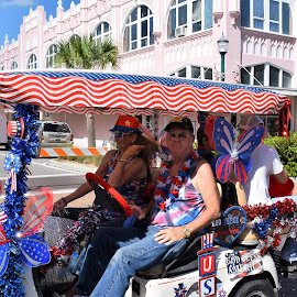 4th of July parade by Priscilla Renda McDaniel - Public Holidays July 4th ( golf cart, parade, red white blue, winner, summer fun, decorated )