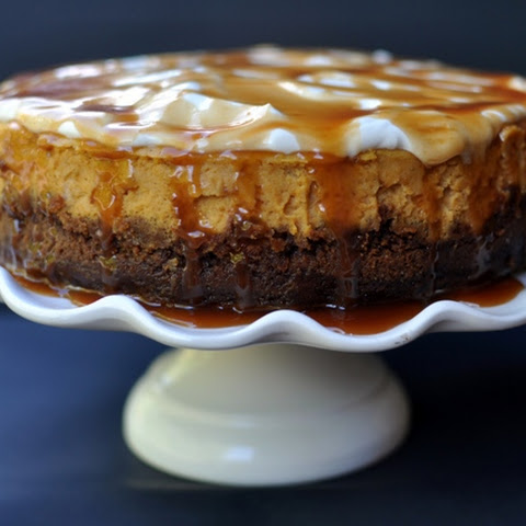 Pumpkin Cheesecake with Gingersnap Crust and Salted Caramel