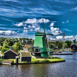 Windmills of Zaanse Schans by Pravine Chester - Landscapes Prairies, Meadows & Fields ( nature, zaanse schans, holland, amsterdam, meadows, waterscapes, windmills, landscapes,  )