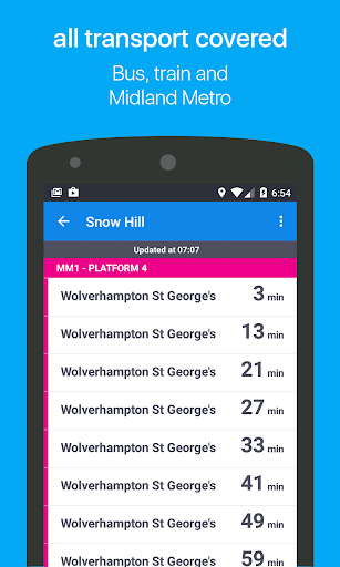 Birmingham Bus & Train Times - screenshot