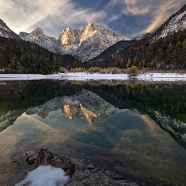 Late autumn reflections by Aleš Komovec - Landscapes Mountains & Hills ( mountains, reflection, nature, autumn, prisojnik, slovenia, snow, lake, morning, kranjska gora, jasna )
