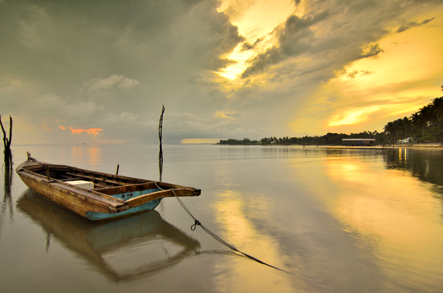 Cloudy and Boat by Irwansyah St - Transportation Boats