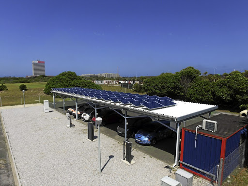 Solar solution: The uYilo smart grid ecosystem for electric vehicles at the Nelson Mandela Metropolitan University in Port Elizabeth. Picture: SUPPLIED