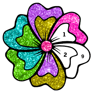 Flowers Glitter Color by Number - Paint by Numbers For PC (Windows & MAC)