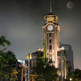Moon over the Shanghai City by David Loarid - Buildings & Architecture Public & Historical