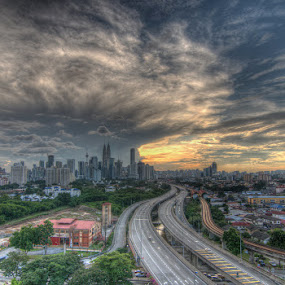 Atomic Clouds at Kuala Lumpur by Abu bakar Mohd tajudin - City,  Street & Park  Vistas ( hdr, cities, towns, buildings, wheater, landscape )