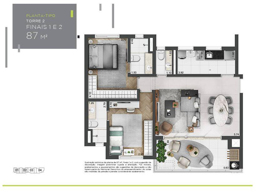 Planta Tipo - 87 m²