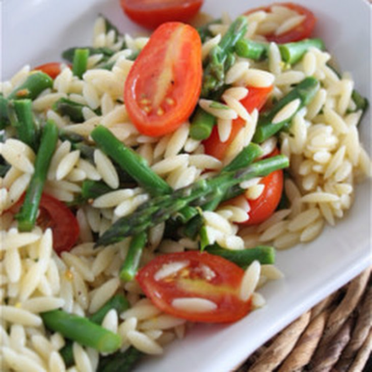 Lemon Orzo Salad with Asparagus and Tomatoes Recipe | Yummly