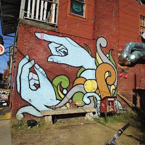 Wall Art by David Jarrard - Buildings & Architecture Other Exteriors ( grafitti, littles grocery, hands, art, cabbagetown )