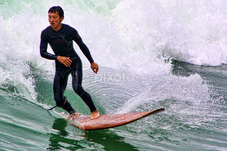 Surfing At New Brighton Beach by Phil Le Cren - Sports & Fitness Surfing ( surfing, sport, surf )
