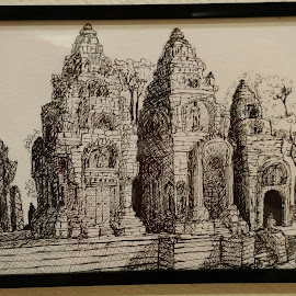 Bantey Srey Temple by Carlos Gramajo - Drawing All Drawing ( temple, tomb raider temple, bantey srey, bantey, cambodia )