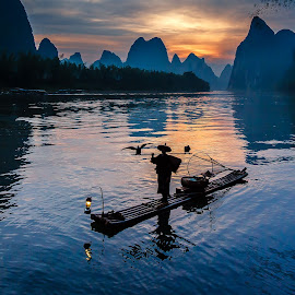 Fishing Silhouette by David Long - Landscapes Travel ( li river, cormorant fisherman, guilin )