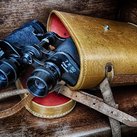 Binoculars by Ana Paula Filipe - Artistic Objects Antiques ( lether, old, red, binoculars, box )