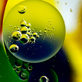 Bubbles Up Close by Carol Ward - Abstract Macro ( abstract, bubble art, macro, abstract art, bubbles, oil bubbles )