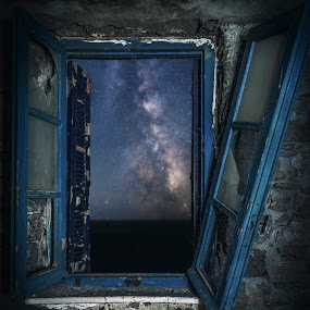 View to the Universe by Giorgos Makropoulos - Landscapes Starscapes ( broken window, sky, window, blue, stars, greece, glass, kos island, abandoned, galaxy, milky way,  )