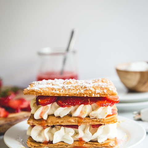 Phyllo Napoleans with Strawberries and Lemon-Vanilla Cream