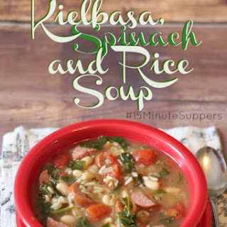 Kielbasa, Spinach and Rice Soup #15MinuteSuppers