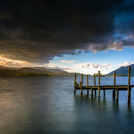 Sundown Final light  by Mark Helm - Landscapes Sunsets & Sunrises ( clouds, water, cumbria, lake, jetty, print, sigma, sunset, d7100, srb -griturn, nikon, light, filters, nd1000 )