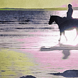 Abstract horse rider by Paula Palmer - Digital Art Abstract ( colorful, abstract art, horse, seascape, beach )