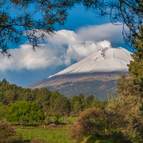 snowy Volcano by Cristobal Garciaferro Rubio - Landscapes Mountains & Hills ( volcano, mountain, ñuebla, popo, smoking, mexico, snow, popocatepetl, smoke )