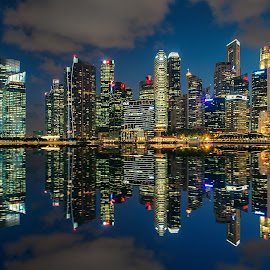 Singapore Financial District by Sam Song - City,  Street & Park  Skylines ( post office, reflection, skyline, financial district, blue hour, mbs, reflections, night, po, singapore )