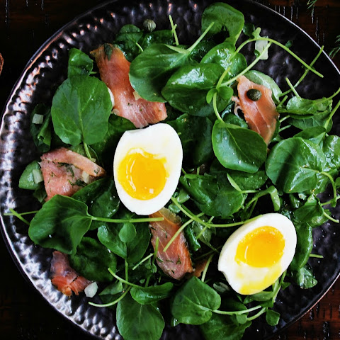 Watercress Salad with Smoked Salmon & Soft Boiled Eggs