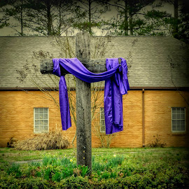 He is Risen by Karen Carter Goforth - Public Holidays Easter ( easter, purple, cross,  )
