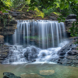 PINION FALLS by Dana Johnson - Landscapes Waterscapes ( waterfalls, falls, creek, waterscape, cascade, landscape, summer )