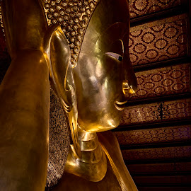 RECLINING BUDAH - Wat Pho Bangkok Thailand  by Rick Pelletier - Novices Only Objects & Still Life