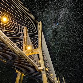 Vasco da Gama Bridge at Night by Marcin Frąckiewicz - Buildings & Architecture Bridges & Suspended Structures ( vasco da gama bridge )