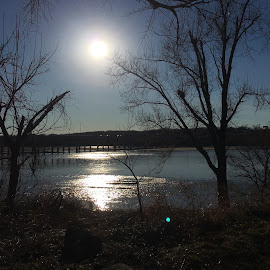 Arkansas River by Peter Boisselle - Nature Up Close Water ( water, tulsa, iphoneography, arkansasriver, trees, bridge, solar flare, evening, sun, river )