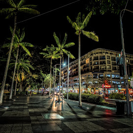 Cairns at night by Andy Rigby - City,  Street & Park  Night ( cairns, urban, street scene, night, dark,  )