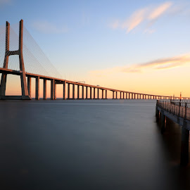 Convergence... by Vitor Silveira - Buildings & Architecture Bridges & Suspended Structures ( tagus river, vasco da gama bridge, long exposure, convergence, lisbon )