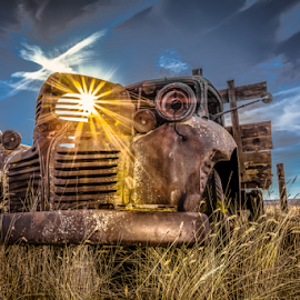 Classic Farm Truck by Bob Juarez - Pixel Fusion Imagery - Transportation Other ( grassland, dodge, antique, work truck, abandoned, fields )