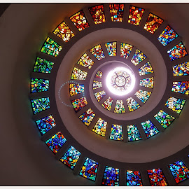 Church Glass by Victor Sanchez - Instagram & Mobile Android ( church, ceiling, windows, spiral, stained glass )