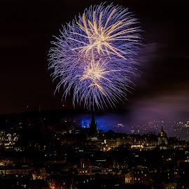 Sparkle over the city by Paul Masterton - Abstract Fire & Fireworks ( colour, scotland, edinburgh, explosions, firework, light, city centre, city, edinburgh festival )
