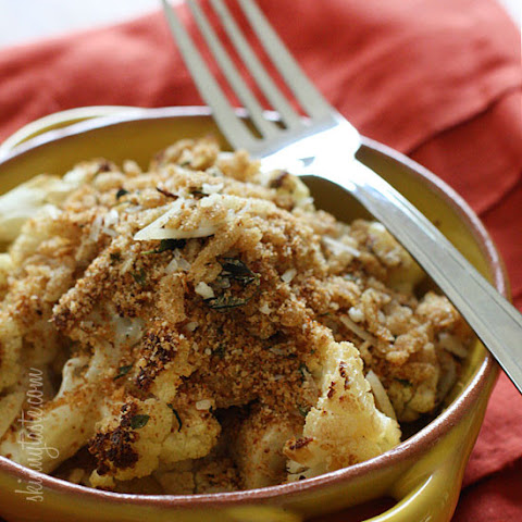 Garlic Roasted Cauliflower with Toasted Asiago Bread Crumbs