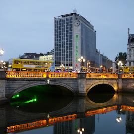 City by Jimmy Fitz - City,  Street & Park  Street Scenes ( lowlight, dublin, streets, night, bridges, rivers, city )