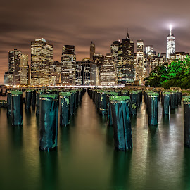 NYC  by George Varkanis - City,  Street & Park  Skylines ( clouds, water, building, skyline, nyc, new york, ny, newyork, dock, city, nightscape, sunset, buildings, long exposure, night, nikon )