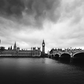 Big Ben by Andrej Folo - City,  Street & Park  Skylines ( clouds, skyline, may, uk, black and white, 2015, cityscape, travel, landscape, city, england, london, cloudy, big ben, bridge, nikon, houses of parliament, river thames, travel photography )