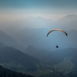 High above No2 by Bor Rojnik - Sports & Fitness Other Sports ( mountains, sky, paraglider, freedom, slovenia, above, tranquility, paraglide )
