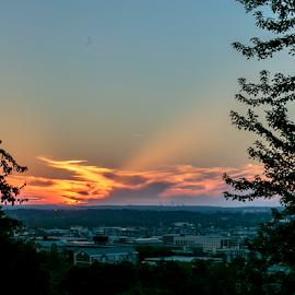 Sun Set Over Birmingham by Kenneth Rogers - Landscapes Sunsets & Sunrises