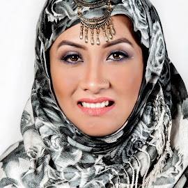 HIJAB by Rahul Chowdhury - People Portraits of Women ( headgear, printed hijab, female, smile, hijab, teeth, pretty, portrait )