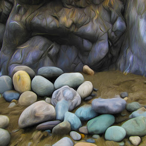 On The Rocks by Steve Kazemir - Abstract Fine Art ( colour, abstract, sand, color, rock, beach, painting, rocks, wall )