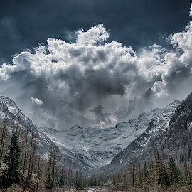 Valley, glacier and storm clouds in background by Massimo De Candido - Landscapes Cloud Formations ( mountain, sport, forest, landscape, storm, spring, glacier, adventure, sky, nature, piedmont, blue, wide angle, dramatic, cloud, italy, macugnaga )