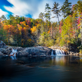 Linville Falls by Robert Mullen - Landscapes Forests ( clouds, water, blue ridge mountains, waterfalls, autumn, fall, moutains, leaves, river )
