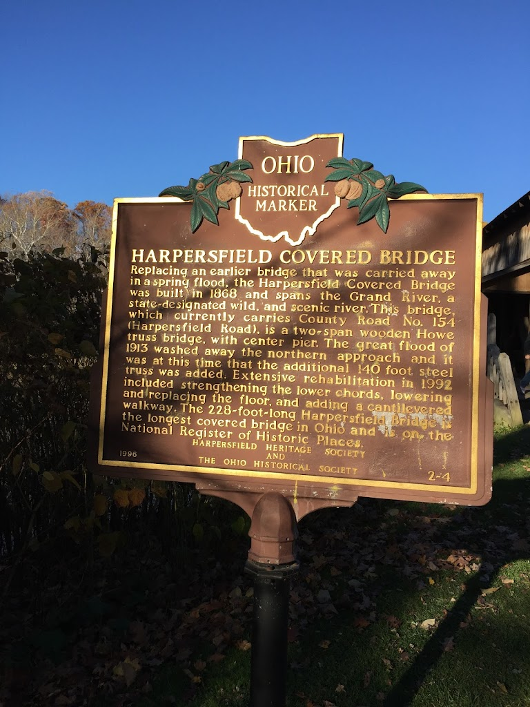 Replacing an earlier bridge that was carried away in a spring flood, the Harpersfield Covered Bridge was built in 1868 and spans the Grand River, a state-designated wild, and scenic river. This ...