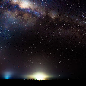 City lights of Horsham. Australia under the milky-way by Lynton Brown - Landscapes Starscapes