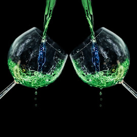 Colored water splash by Kevin Holberg - Food & Drink Alcohol & Drinks ( colour, water, blue, color, green, colors, wine glass )